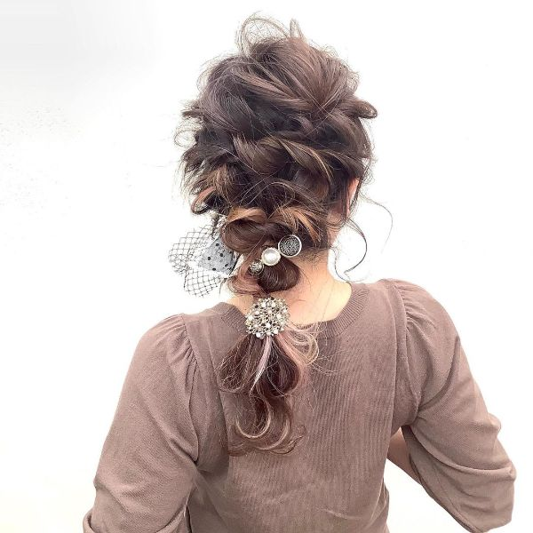 Messy Mermaid Braid with Hair Accessories
