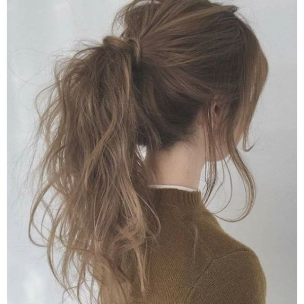 Messy Natural Ponytail with Free Falling Front Pieces