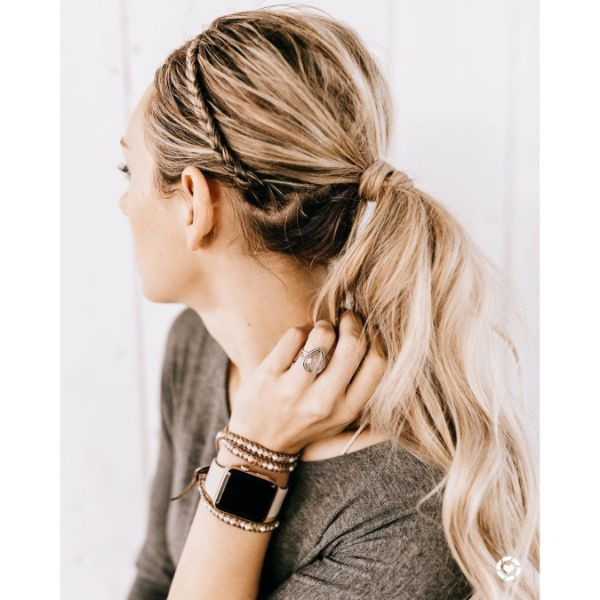 Messy Ponytail with Crown Braid for Long Balayage Hair