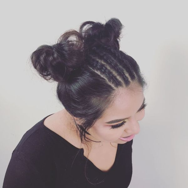 Messy Space Buns with Cornrows