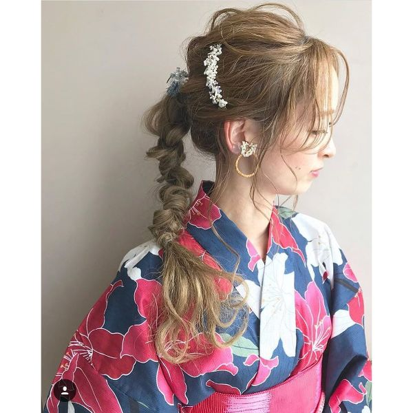 Messy Twisted Braid with Hair Accessories