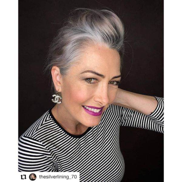 Messy Updo for Gombre Long Hairstyle for Older Women