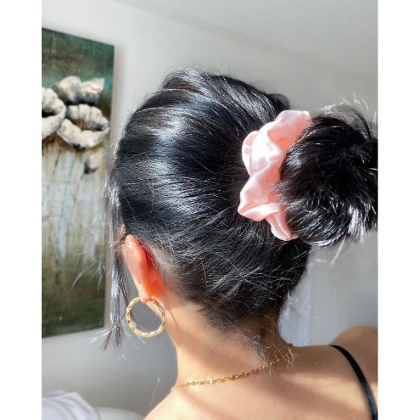 Messy Updo with Back Bun and Satin Scrunchies for Dark Hair