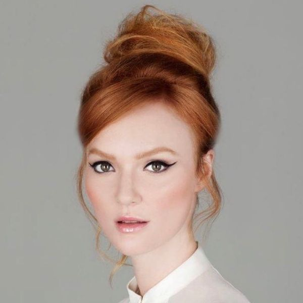 Messy Updo with Elegant Bun for Long Red Hair