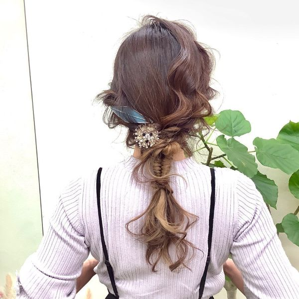 Messy Updo with Fishtail and Hair Accessories