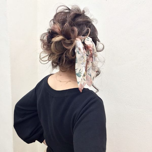 Messy Updo with Head Scarf and Curls
