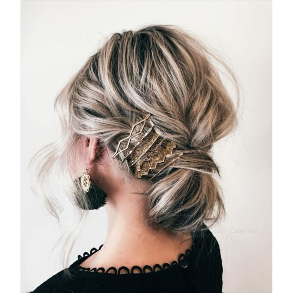 Messy Updo with Low Twisted Bun and Hair Jewelry