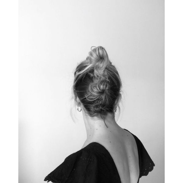 Messy Updo with Triple Buns for Long Blonde Hair