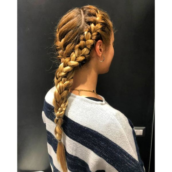Multi-braided Ponytail for Long Layered Hair