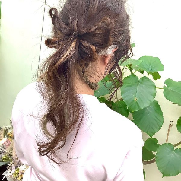 Nape Ponytail with Braided Ribbon in Messy Creative Updo