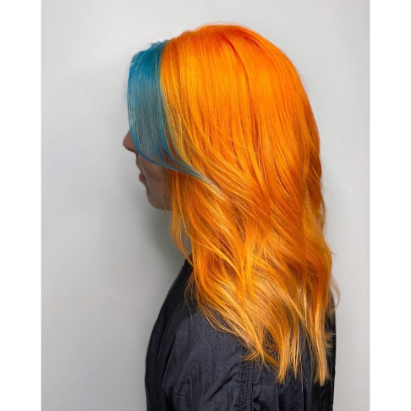 Orange Long Layered Hairstyle with Long Winged Teal Bangs