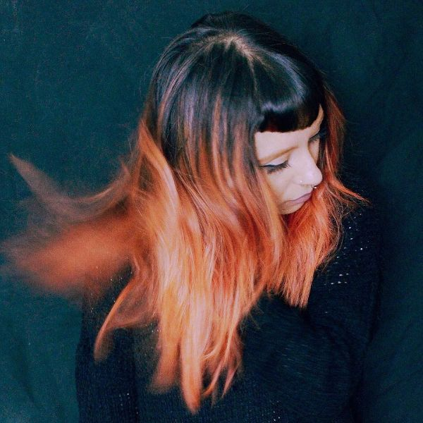 Orange Ombre for Long Layered Hairstyle with Round Short Bangs