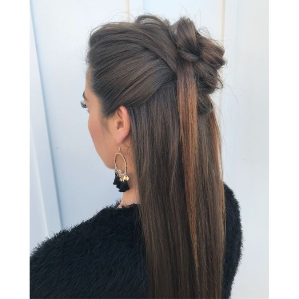 Oriental Inspired Mesy Half-Knot for Long Hair