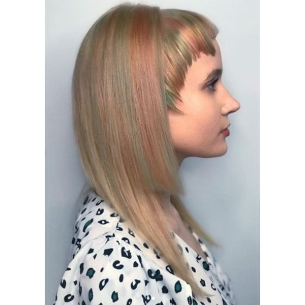 Pastel Asymmetric Layered Hairstyle with Asymmetric Bangs