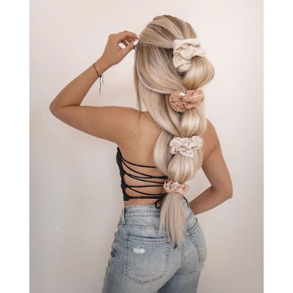 Pull Through  Braided Hairstyle with Scrunchies