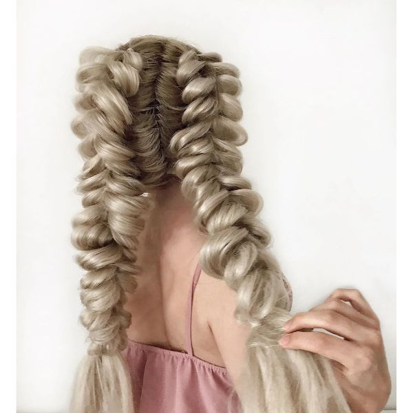 Pull Through Pigtail Braids for Long Blonde Hair