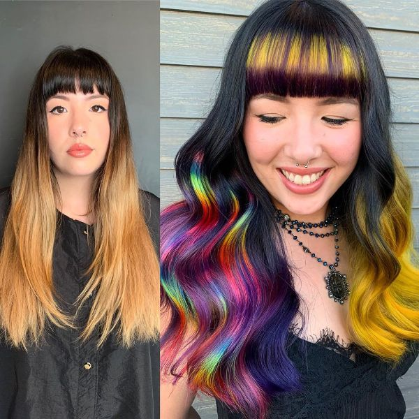 Rainbow Balayage for Wavy Long Layered Hair with Straight Bangs