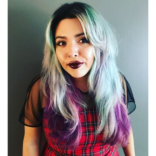 Rainbow Balayage for Wavy Long Layered Hairstyle with Straight Bangs
