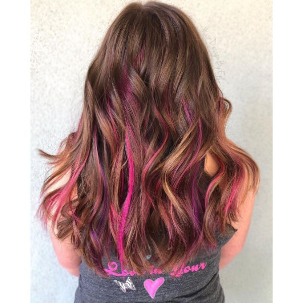 Rainbow Highlights for Layered Wavy Haircut