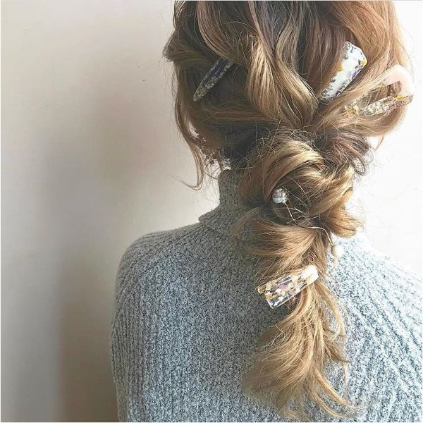 Relaxed Braid with  Hair Pins