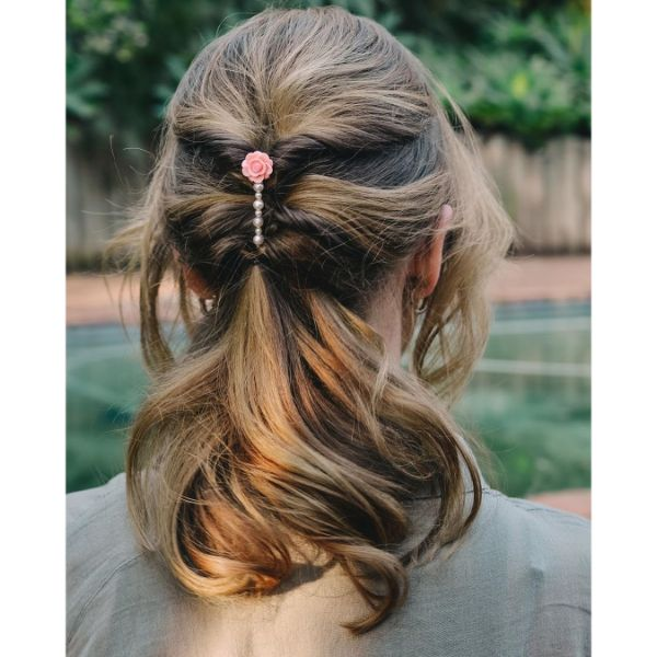 Romantic Negligent Updo  with soft swept curlS