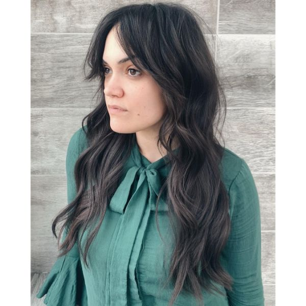 Shaggy Wavy Long Layered Hairstyle with Side Swept Bangs