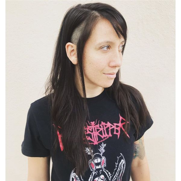 Shaved Sides for Long Straight Layered Hairstyle with Bangs
