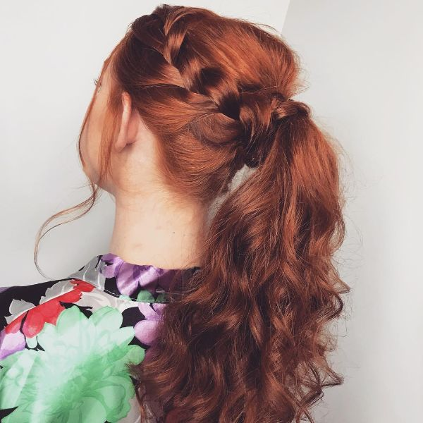 Side Braids with Voluminous Ponytail