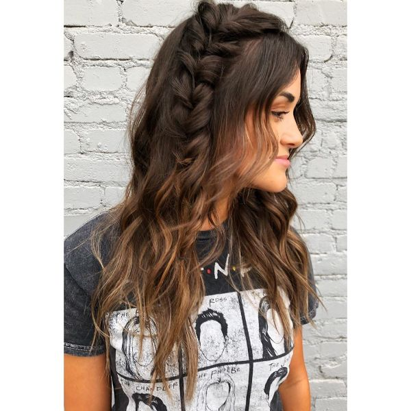 Side-Swept French Braid with Free - falling Long Hair
