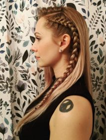 Side-braided Dutch Braid with Side Part for Long Free Falling Hair