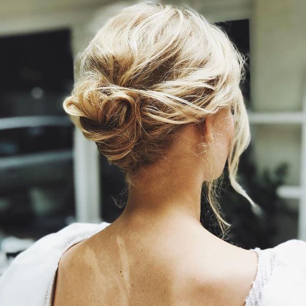Simple Messy Updo with Small Chignon for Blonde Long Hair