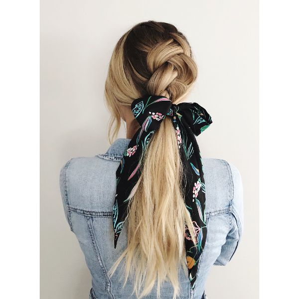 Single Dutch Braid with Ribbon
