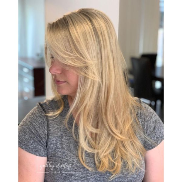 Soft Wavy Feathered Layers for Blonde Hair