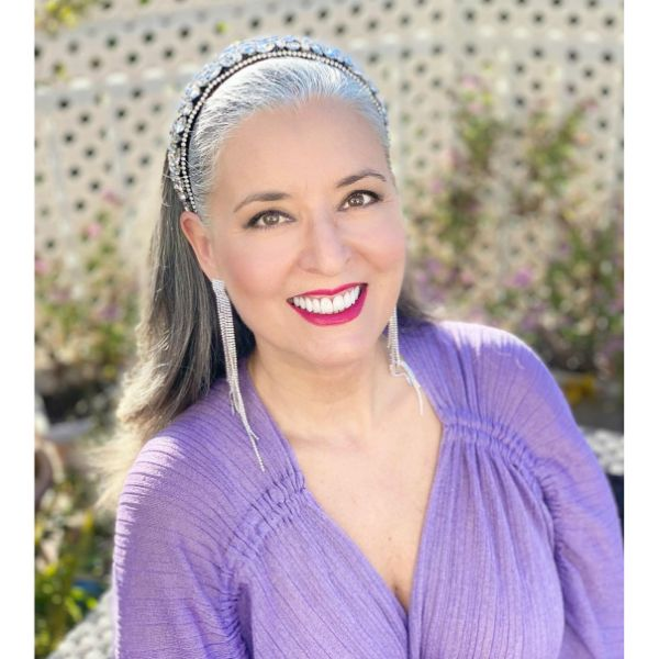 Straight Long Hairstyle with Tiara Headband for Older Women