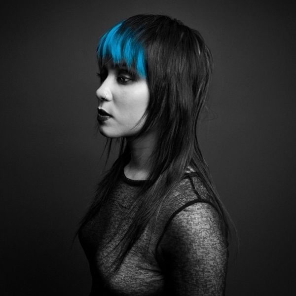 Straight Long Layered Dark Hair with Electric Blue Colored Bangs