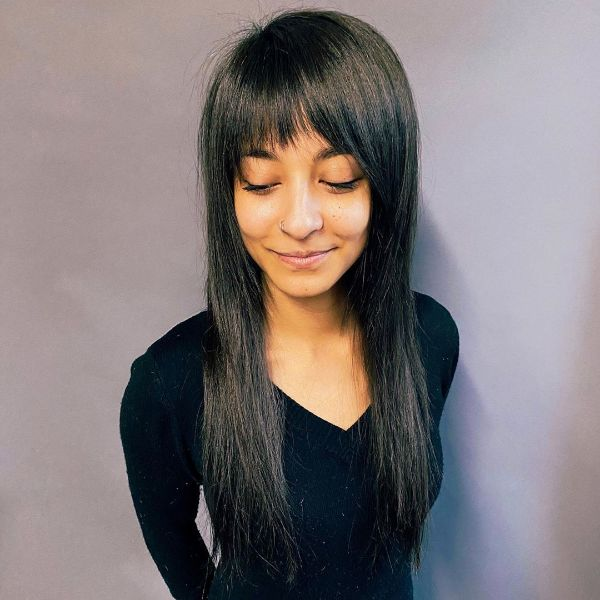 Straight Long Layered Hair with Straight Bangs Hairstyle