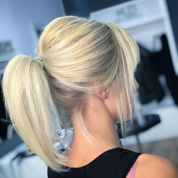 Teased Straight Ponytail for Straight Layered Blonde Hair with Layered Bangs