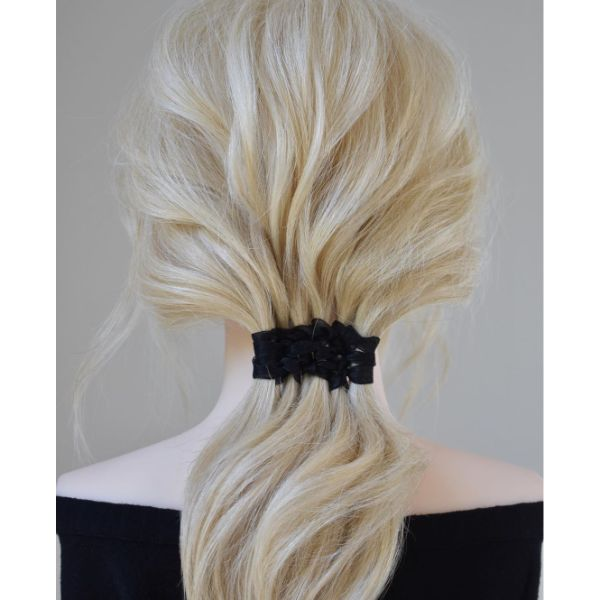 Textured Nape Ponytail with Ribbon Weave