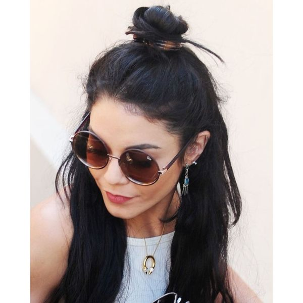 Top Half Bun for Messy Updo Hairstyle