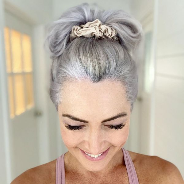Top Knot with Scrunchies for Silver Long Hair