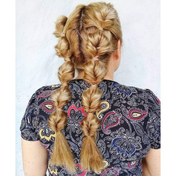 Topsy Turvy Tail Braids for Long Blonde Hair