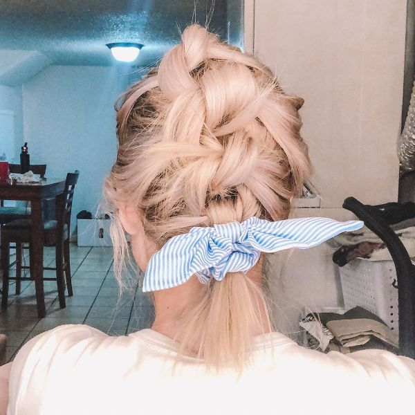 Triple Knotted Ponytail with Hair Ribbon