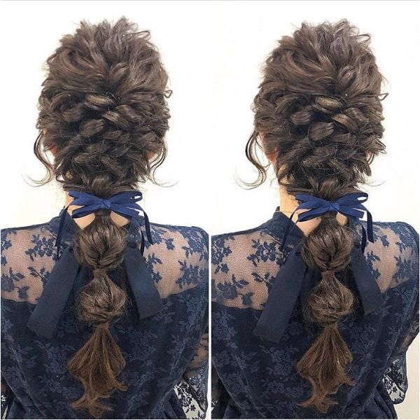 Twisted Messy Braid with Ribbon