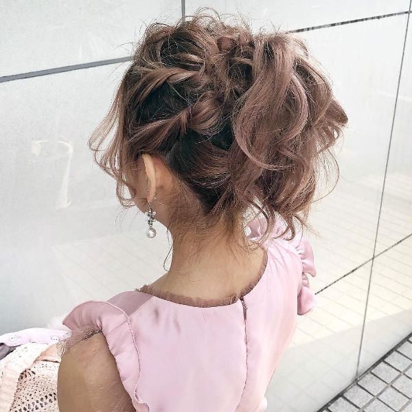 Twisted Side Braids and Messy Ponytail