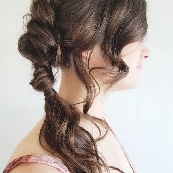 Twisted Side Ponytail with Wavy Bangs