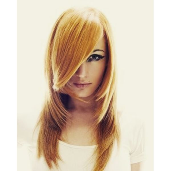 U-shaped Red Layered Hairstyle with Straight Bangs