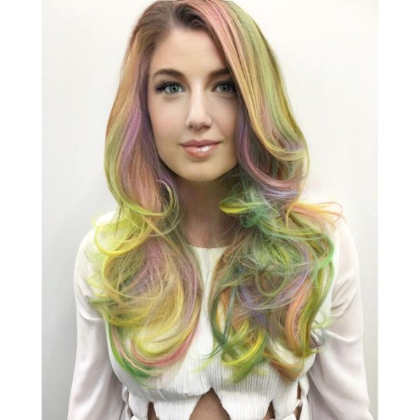 Vibrant Balayage for U-shaped Long Layered Hairstyle with Swoopy Bangs