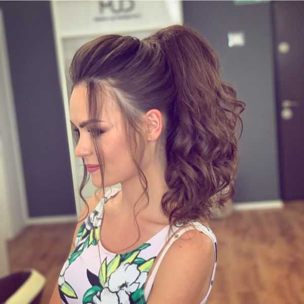 Voluminous Curly Ponytail for Chocolate Brown Hair with Falling Free Front Pieces