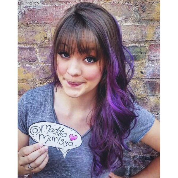 Wavy Layered Hairstyle for Purple Ombre with Straight Bangs