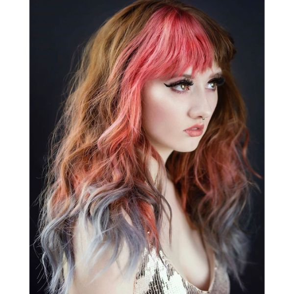 Wavy Multi-Colored Long Layered Hairstyle with Thick Bangs